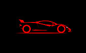 stylized simple drawing sport super car coupe side , vector illustration