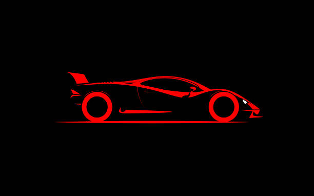 stylized simple drawing sport super car coupe side stylized simple drawing sport super car coupe side , vector illustration sports car stock illustrations