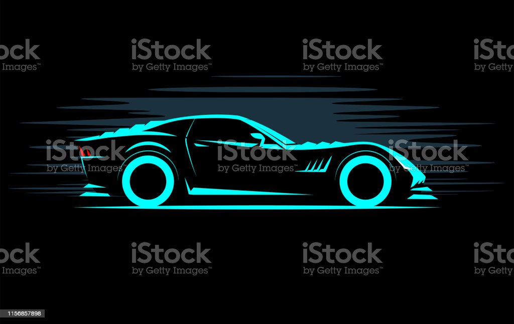 Stylized Simple Drawing Sport Super Car Coupe Side View On A Dark
