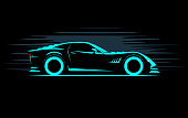 stylized simple drawing sport super car coupe side view on a dark background, vector illustration