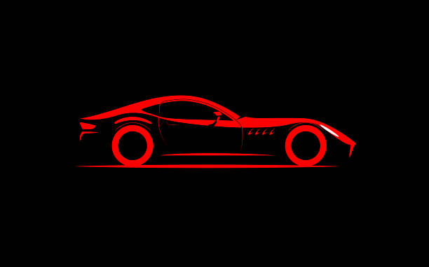 stylized simple drawing sport super car coupe side view stylized simple drawing sport super car coupe side view , sports car stock illustrations