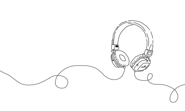 Stylized simple one line drawing of headphone speaker device gadget continuous lineart design isolated on white background.Music element for listening songs and playlist. Stylized simple one line drawing of headphone speaker device gadget continuous lineart design isolated on white background.Music element for listening songs and radio dj stock illustrations