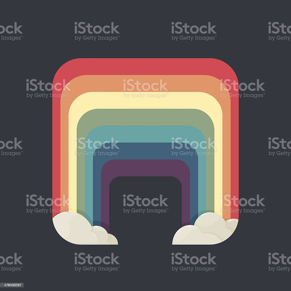 Stylized square rainbow with clouds on a dark background