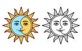 Stylized sun and moon