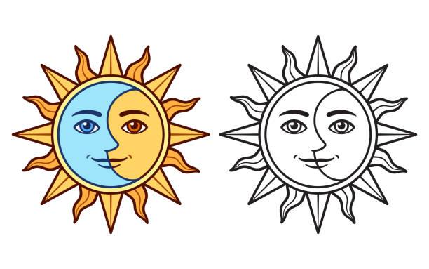 ilustraciones, imágenes clip art, dibujos animados e iconos de stock de sol y luna estilizados - tatuajes de luna