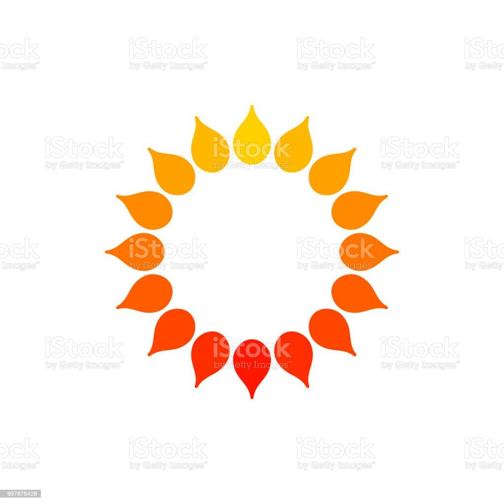 Stylized Sun Logo Round Icon Of Sun Flower Isolated Yellow Orange