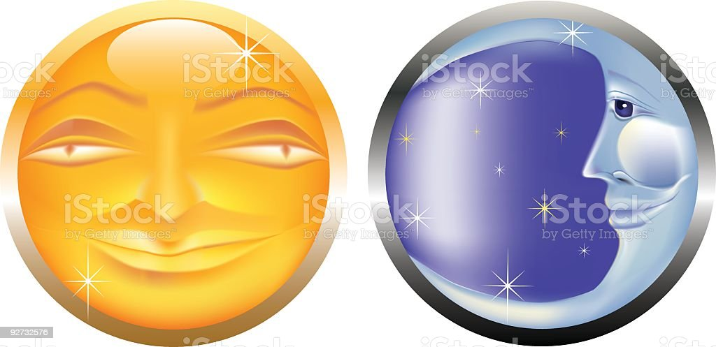 Stylized Sun & Moon Faces Isolated on White Background royalty-free stock vector art
