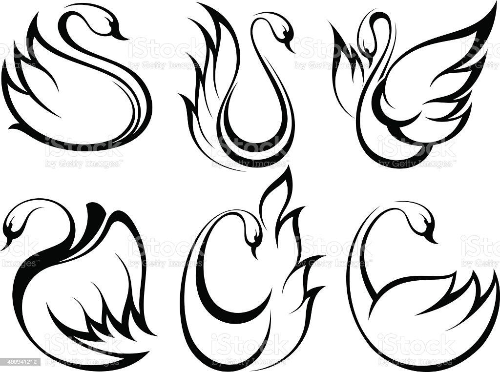 Stylized swan.Vector set of birds vector art illustration