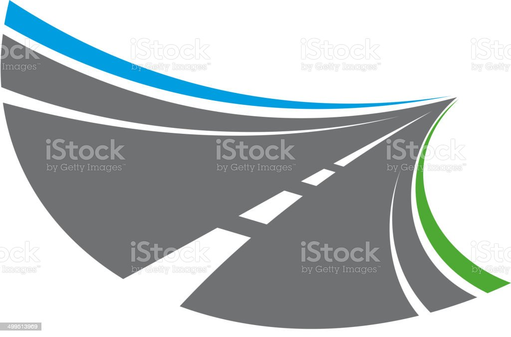 Stylized tarred road with markings vector art illustration