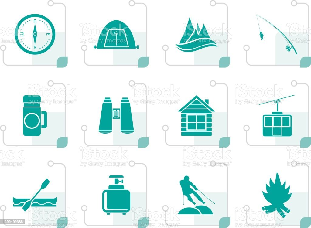 Stylized travel, Tourism, vacation and mountain objects vector art illustration