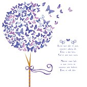 Vintage stylized vector tree made of butterflies in violet blue hues. Template card design with space for text. Design element with set of butterflies. Great for invitations, Valentine's Day decoration, romantic cards and bag prints. Isolated on white.