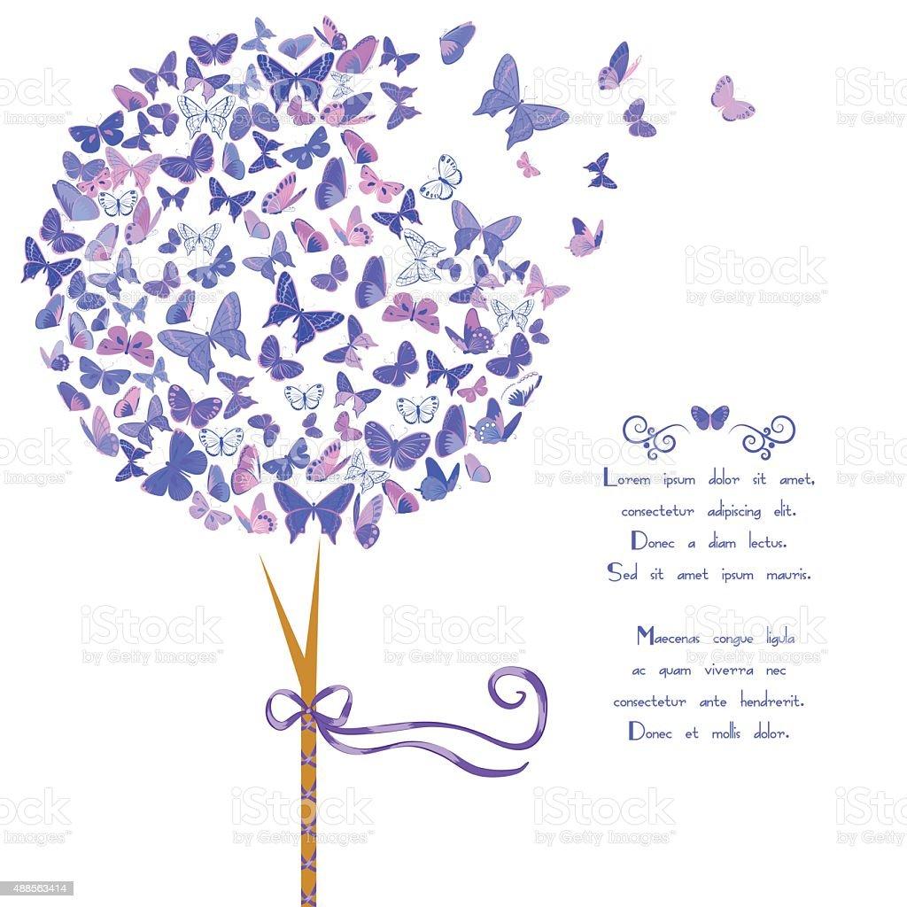 Estilizada árvore feita de borboletas - ilustração de arte em vetor