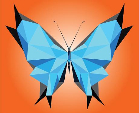 stylized triangle poligonal  blue morpho didius butterfly illustration