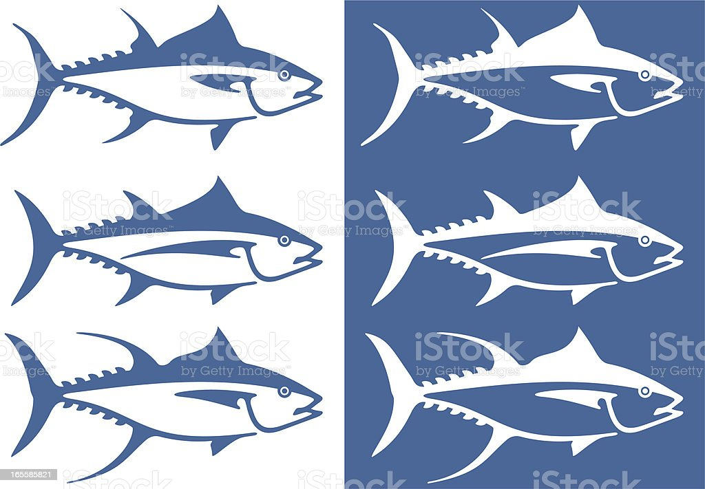 Stylized tuna vector art illustration