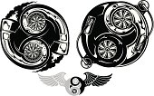 Stylized turbocharger Ying Yang symbol
