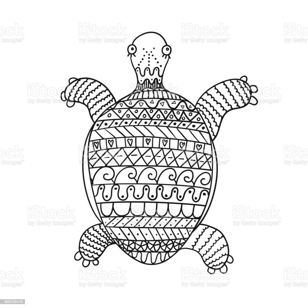 Beyaz Arka Plan üzerinde Izole Stilize Kaplumbağa Stok Vektör Sanatı