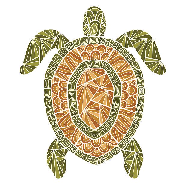 スタイリッシュな「タートルスタイル zentangle ます。 - マリンのタトゥー点のイラスト素材/クリップアート素材/マンガ素材/アイコン素材