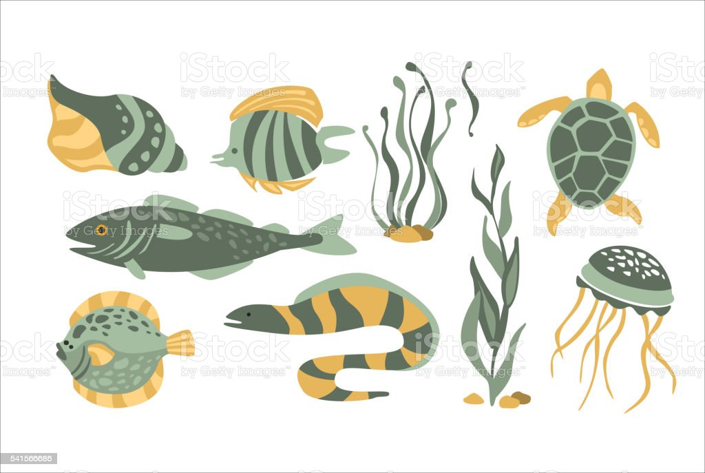 Stylized Underwater Nature Collection Of Icons vector art illustration