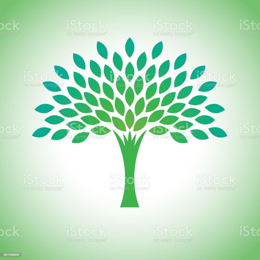 Vector estilizada eco árbol insignia. Logotipo del árbol de vectores para conceptos de jardinería y medio ambiente. Eco logo, vector - ilustración de arte vectorial
