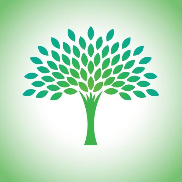 stilisierte vektor-eco-baum-logo. vektor-baum-logo für gartenbau und umwelt-konzepte. eco logo, vektor - stammbäume stock-grafiken, -clipart, -cartoons und -symbole