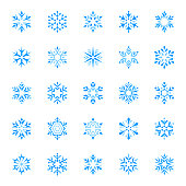 Set of stylized snowflakes. Vector design elements, icon set. Collection of different variations. Blue snowflakes on white background.