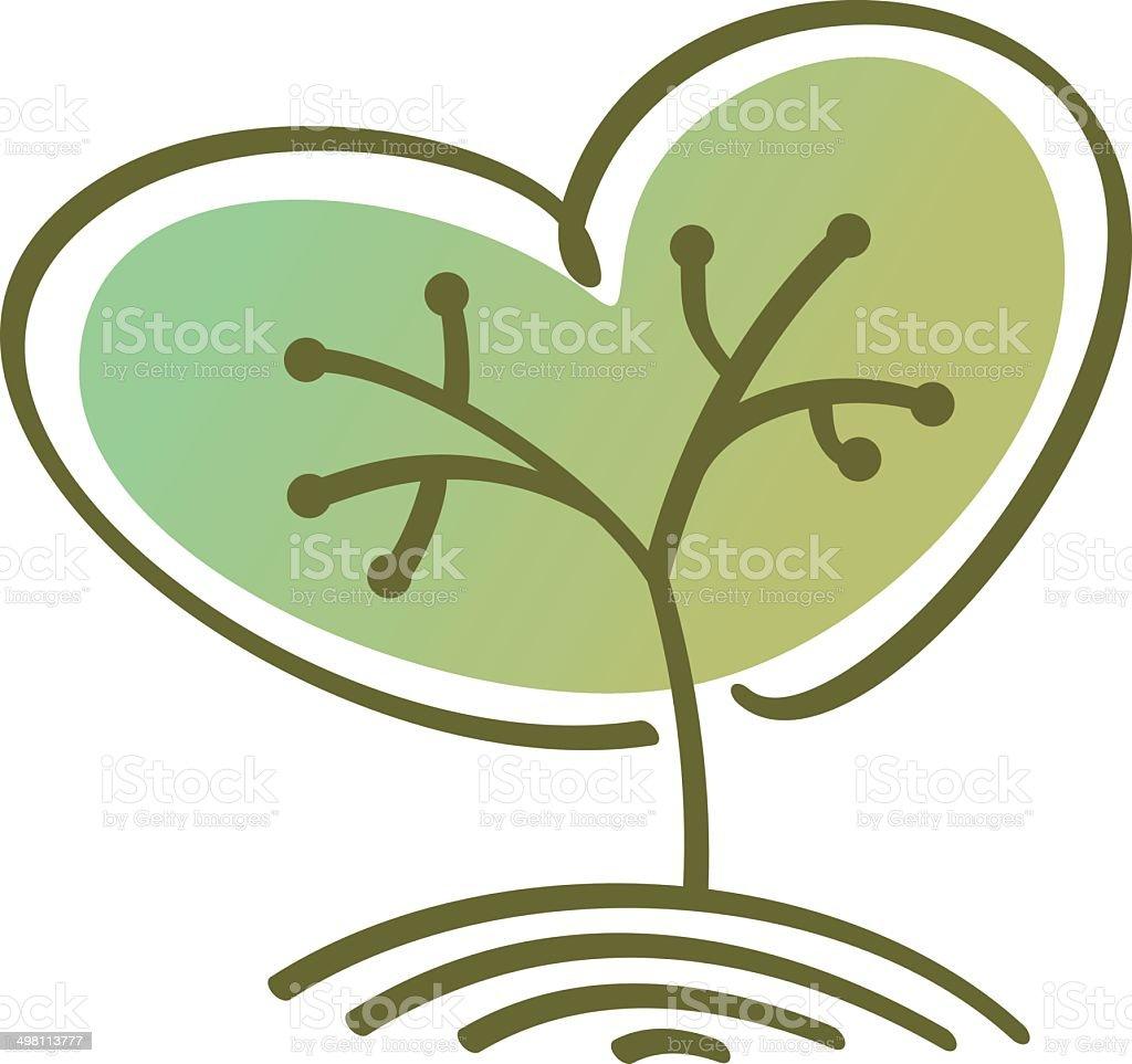 Stilisierte Vektor-Baum Herzform – Vektorgrafik