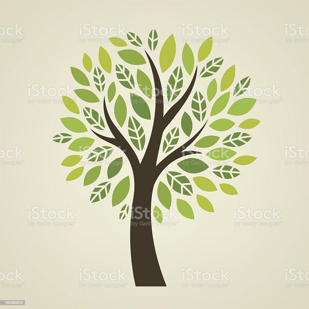 Stylized vector tree vector art illustration