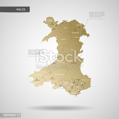 Stylized vector Wales map.  Infographic 3d gold map illustration with cities, borders, capital, administrative divisions and pointer marks, shadow; gradient background.