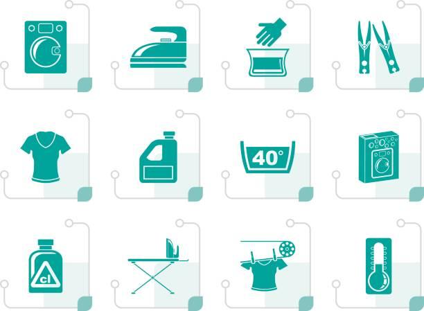 stilisierte waschmaschine und wäsche-symbole - weichspüler stock-grafiken, -clipart, -cartoons und -symbole