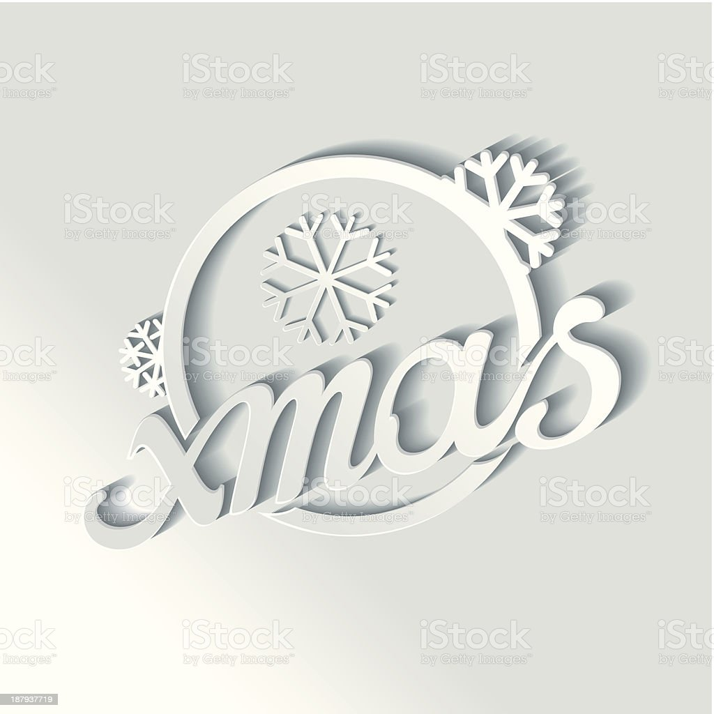 Stylized white lettering xmas with 3D effect royalty-free stock vector art
