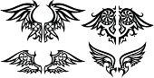 Stylized wings set