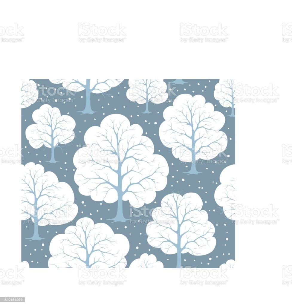 Ilustración de Bosque De árboles De Nieve De Invierno Estilizada De ...