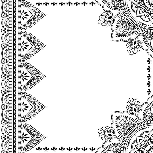 stockillustraties, clipart, cartoons en iconen met gestileerde met henna tatoeages decoratief patroon voor het verfraaien van covers voor boek, notebook, kist, magazine, briefkaart en map. mandala en grens in mehndi stijl. frame in de oost-traditie. - hennatatoeage
