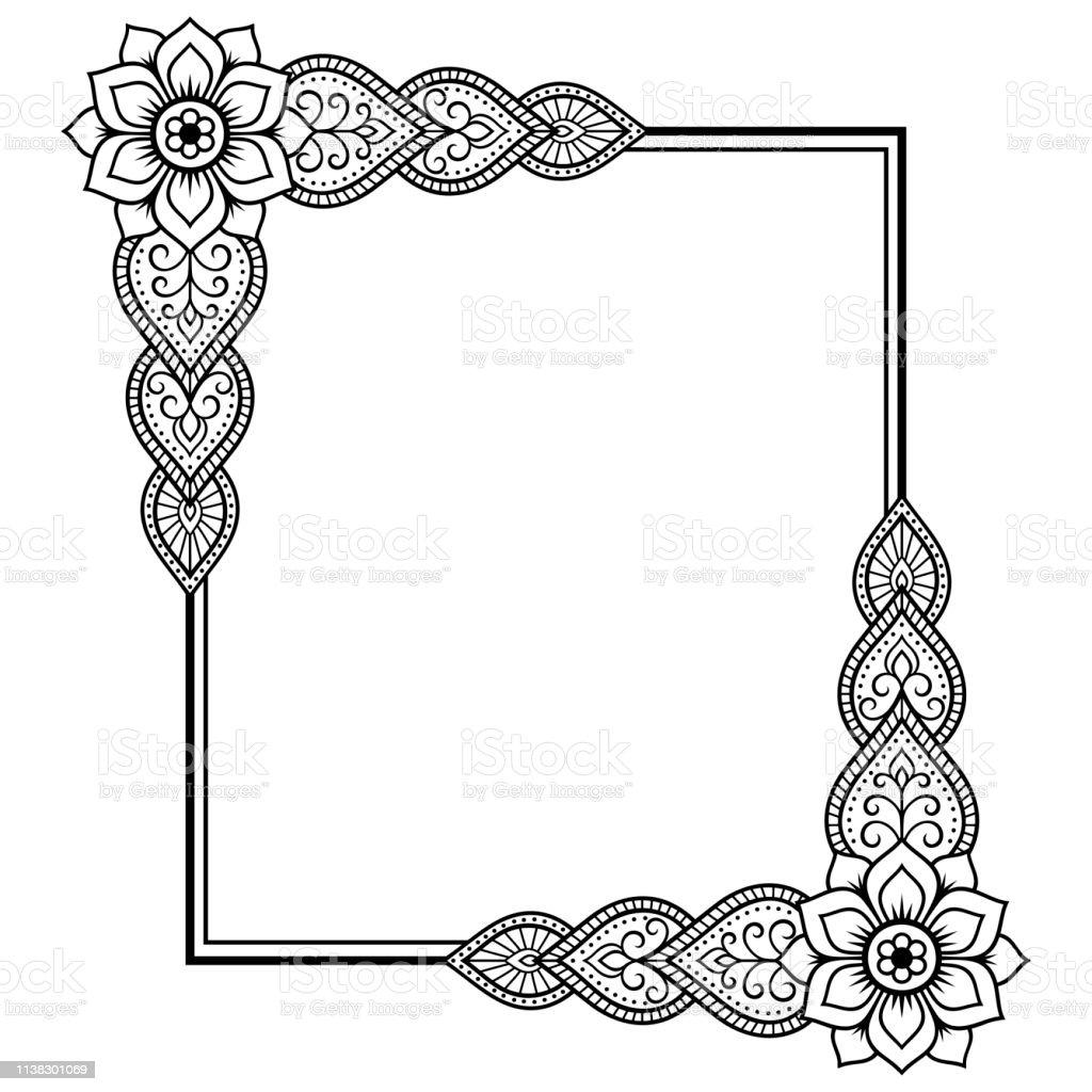 Ilustración De Estilizado Con Tatuajes De Henna Patrón
