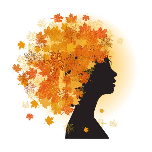 illustrazioni stock, clip art, cartoni animati e icone di tendenza di stilizzato di donna stile di capelli. autunno stagione. - woman portrait forest
