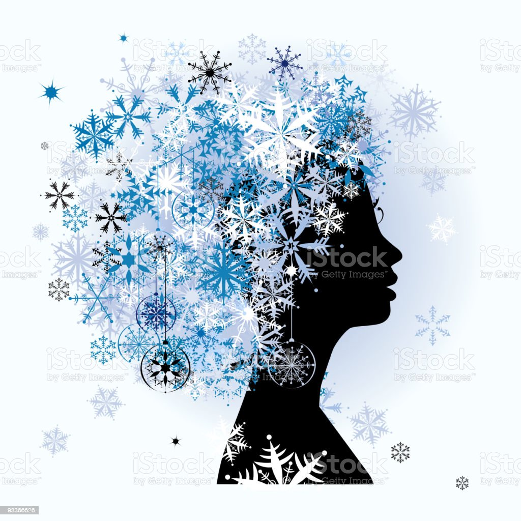 Stylized woman hairstyle. Winter season. royalty-free stock vector art