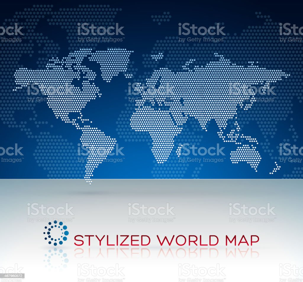 Stylized world map background dotted vector art illustration