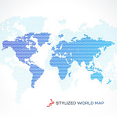 Stylized world map dotted