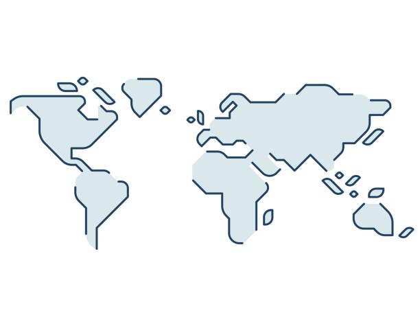 stylizowana mapa świata - prostota stock illustrations