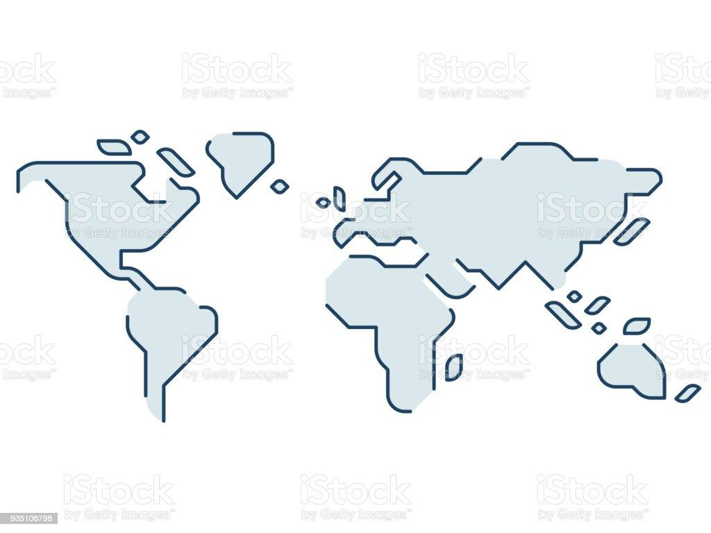 Stylisé carte du monde - Illustration vectorielle
