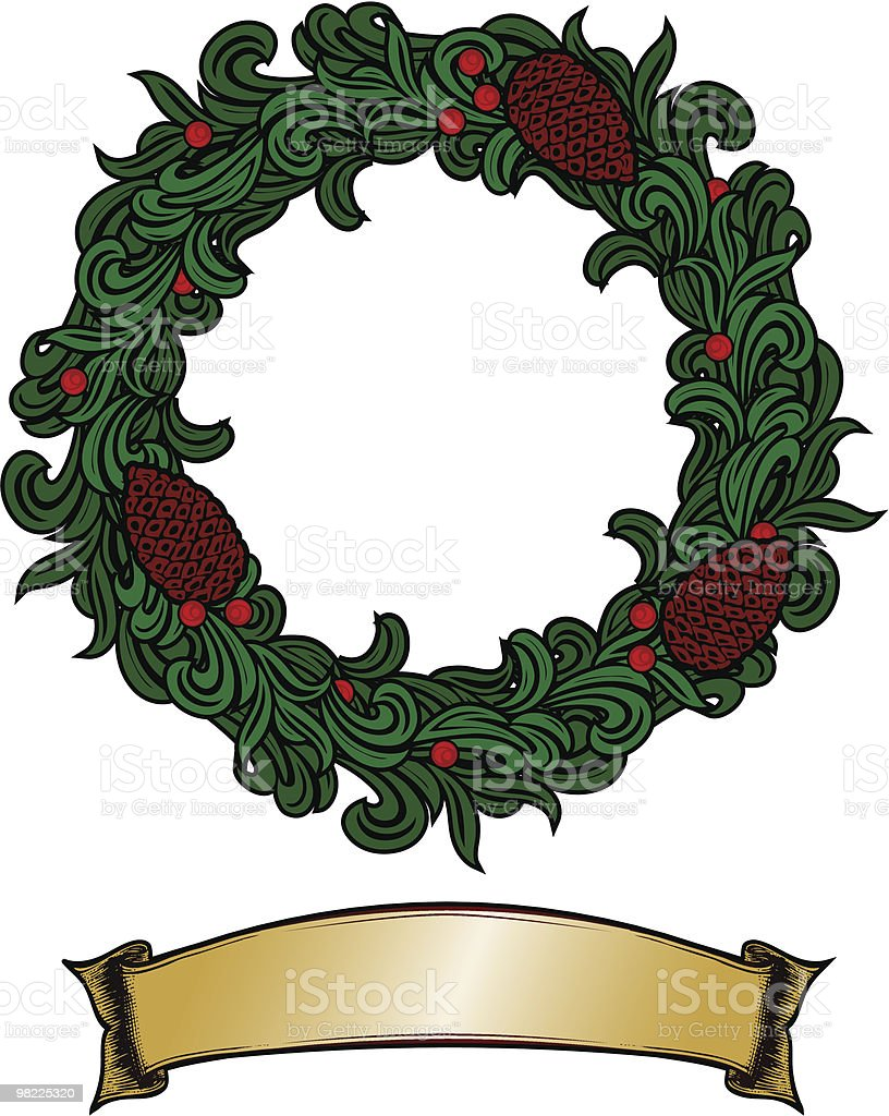 Stylized Wreath and Banner royalty-free stylized wreath and banner stock vector art & more images of christmas