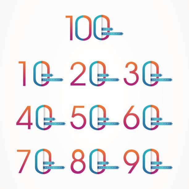 ilustrações, clipart, desenhos animados e ícones de modelo de design estilizado anos aniversário número - data especial