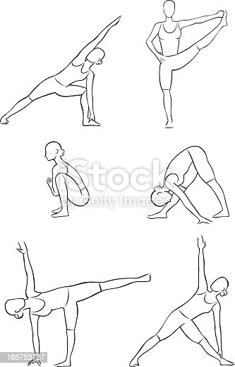 Six line illustrations of standing yoga positions. One of a series.