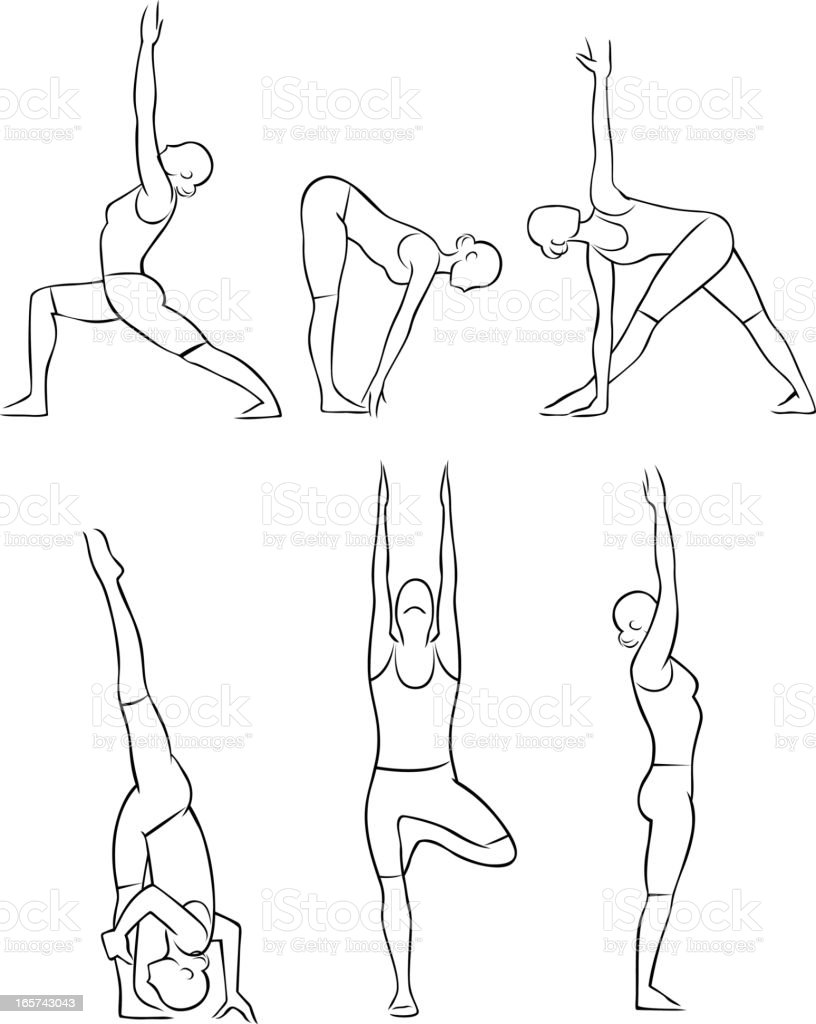 Stylized yoga illustrations - Standing vector art illustration