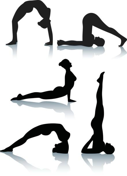 Stylized yoga silhouettes - Bending Five silhouetted illustrations of bending yoga positions. One of a series. upward facing dog position stock illustrations