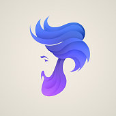 Stylizes man's head with hair icon.