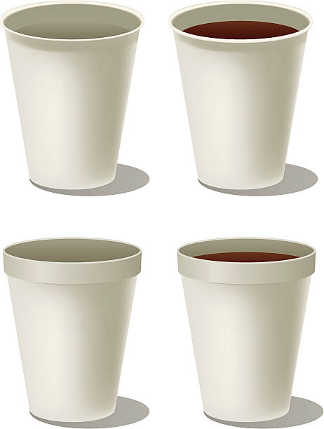 Styrofoam cup of coffee Styrofoam cup of coffee polystyrene stock illustrations