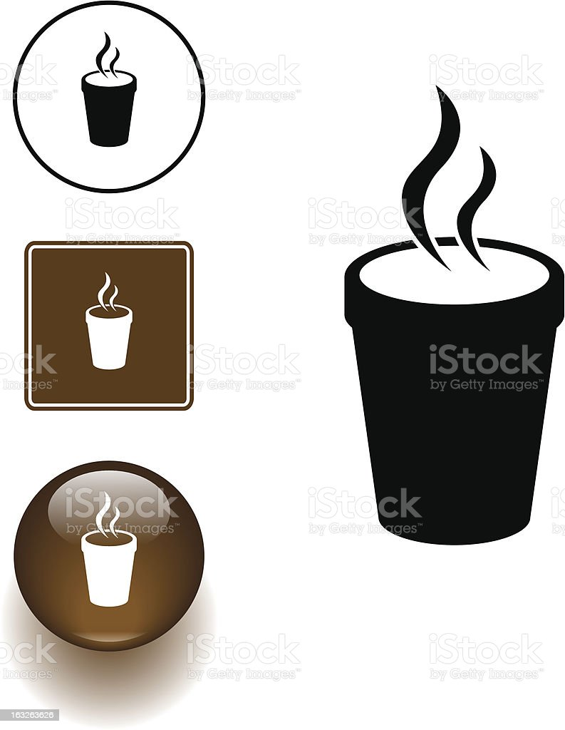 styrofoam cup with hot beverage symbol sign and button royalty-free styrofoam cup with hot beverage symbol sign and button stock vector art & more images of brown