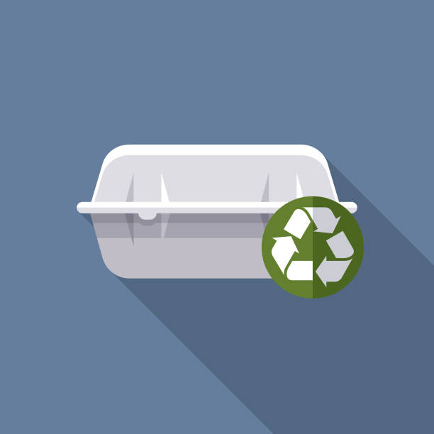 ilustraciones, imágenes clip art, dibujos animados e iconos de stock de styrofoam takout contenedor reciclables icon - leftovers