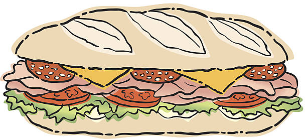 sub sandwich c2 - sub sandwich stock illustrations, clip art, cartoons, & icons
